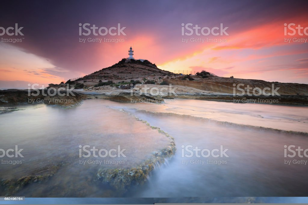 Beautiful sunset in Cape Huertas Lighthouse, Alicante (Spain) royalty free stockfoto