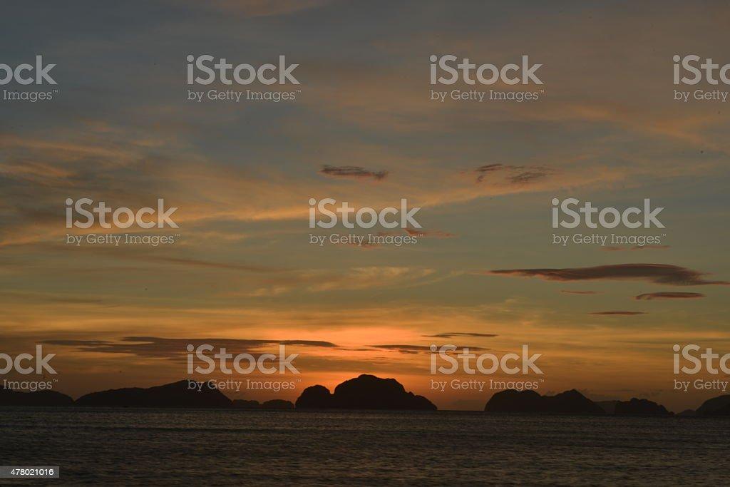 Beautiful sunset in El Nido stock photo