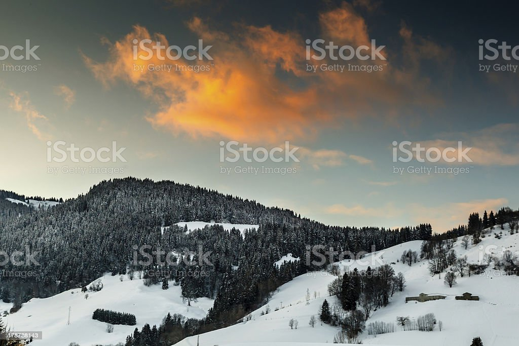 Beautiful Sunset in French Alps near Megeve, France royalty-free stock photo