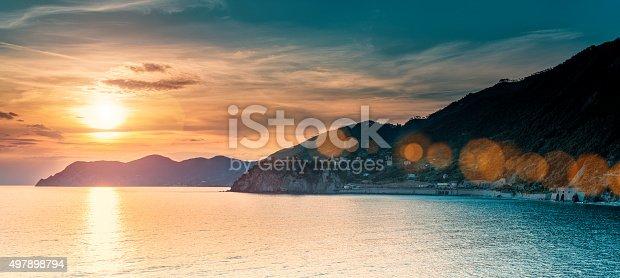 istock Beautiful sunset in Liguria, Italy 497898794