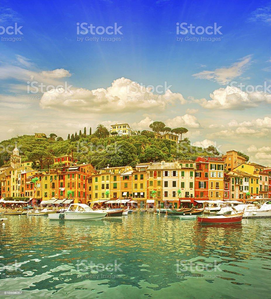 Beautiful sunset in Portofino village on Ligurian coast, Italy stock photo