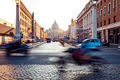 Beautiful sunset in Rome on old cobblestone streets
