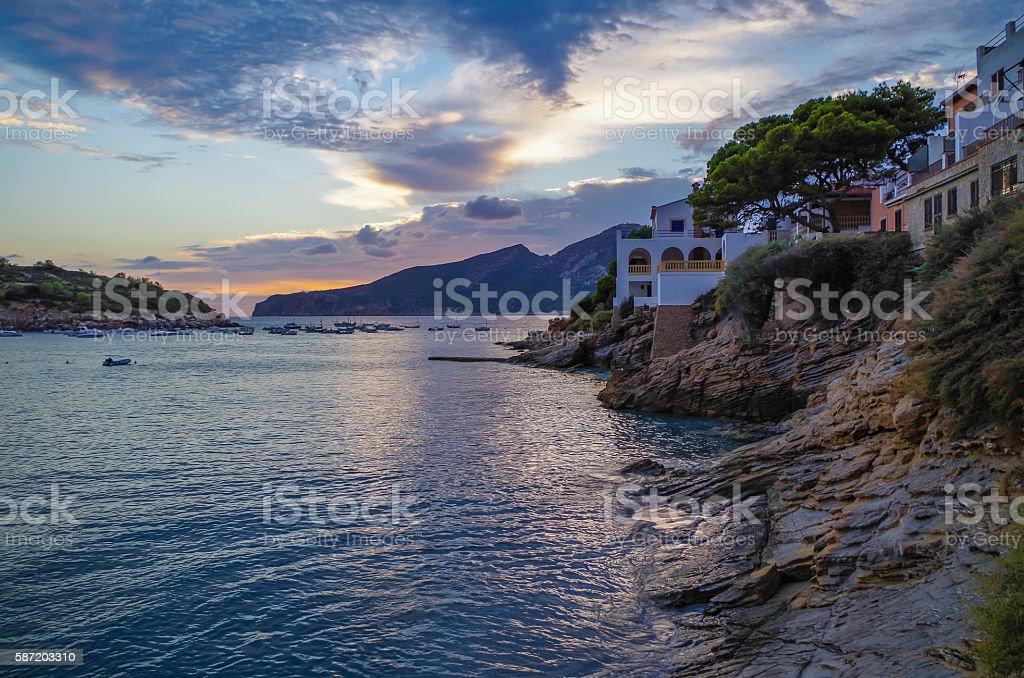 Beautiful sunset in Sant Elm at GR 221, Mallorca, Spain - Lizenzfrei Abenddämmerung Stock-Foto