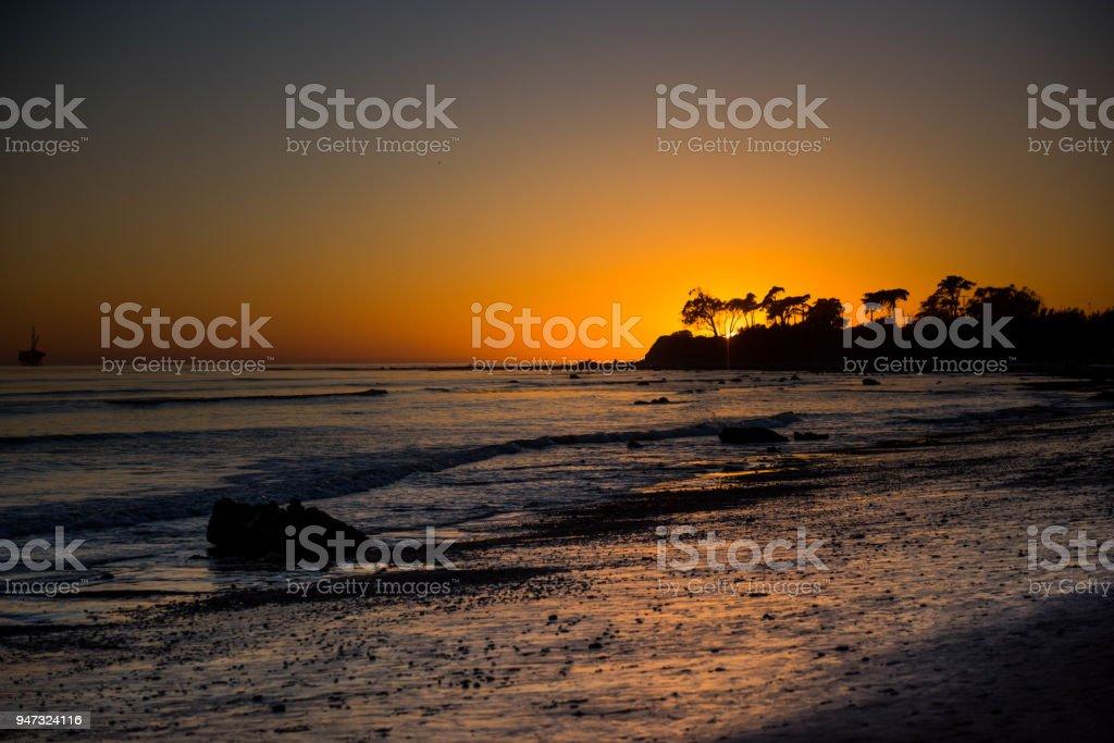 Beautiful sunset in Santa Barbara stock photo