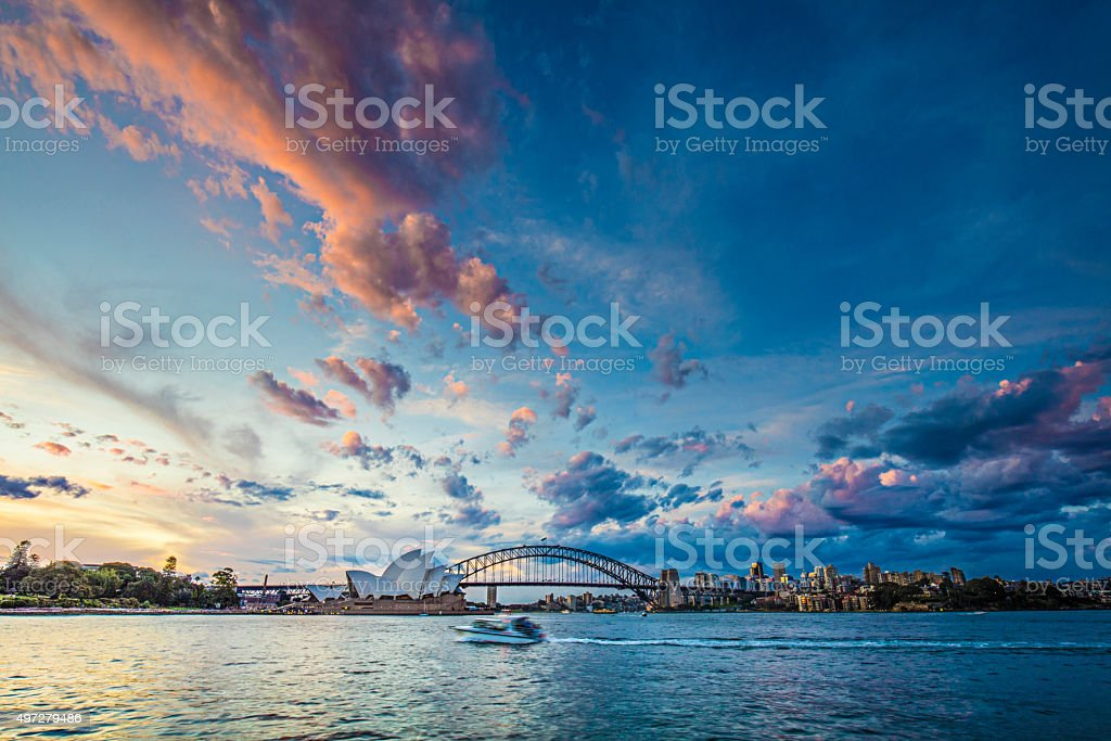 Beautiful sunset in Sydney stock photo