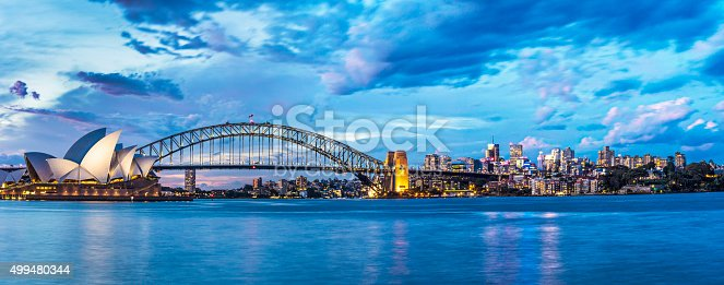 Sunset in Sydney with Harbour Bridge and Sydney Opera House in the background.