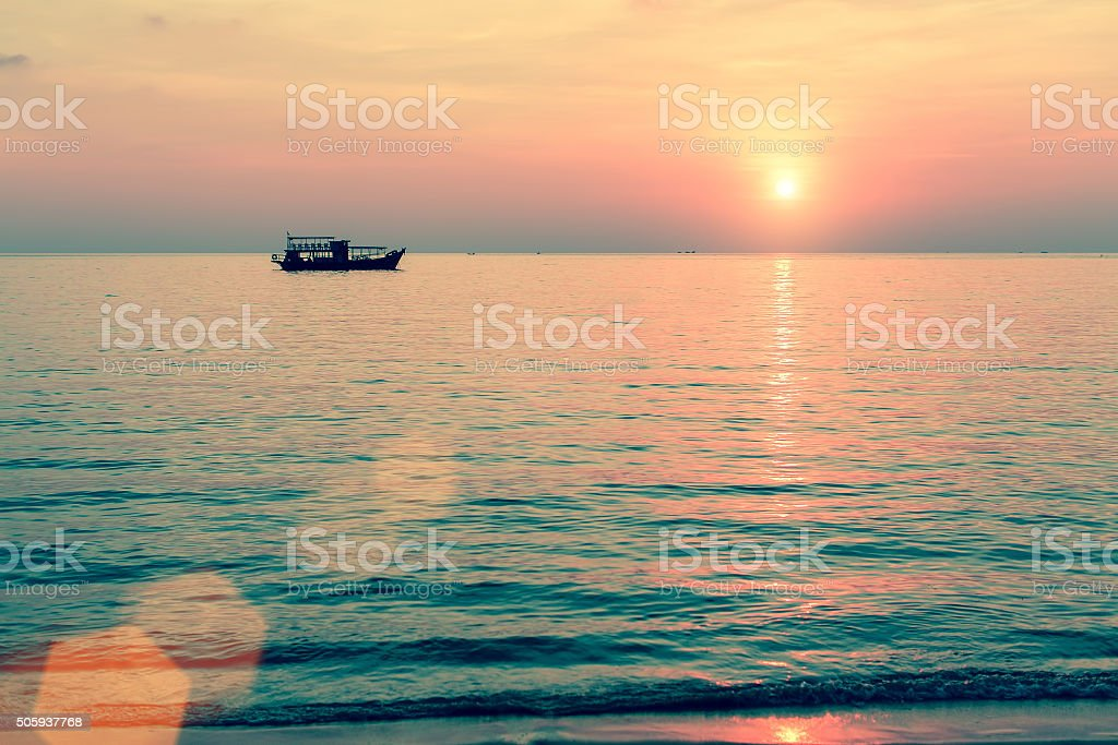 Beautiful sunset in the Bay of the Gulf of Thailand. stock photo