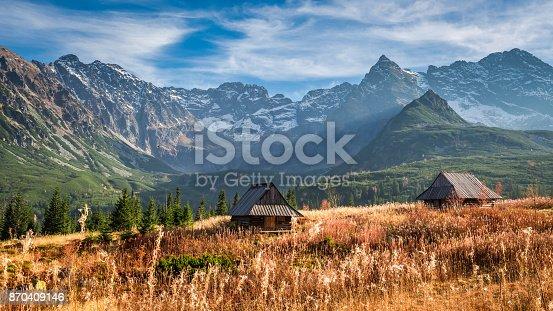 istock Beautiful sunset in the mountain valley, Tatras in autumn 870409146