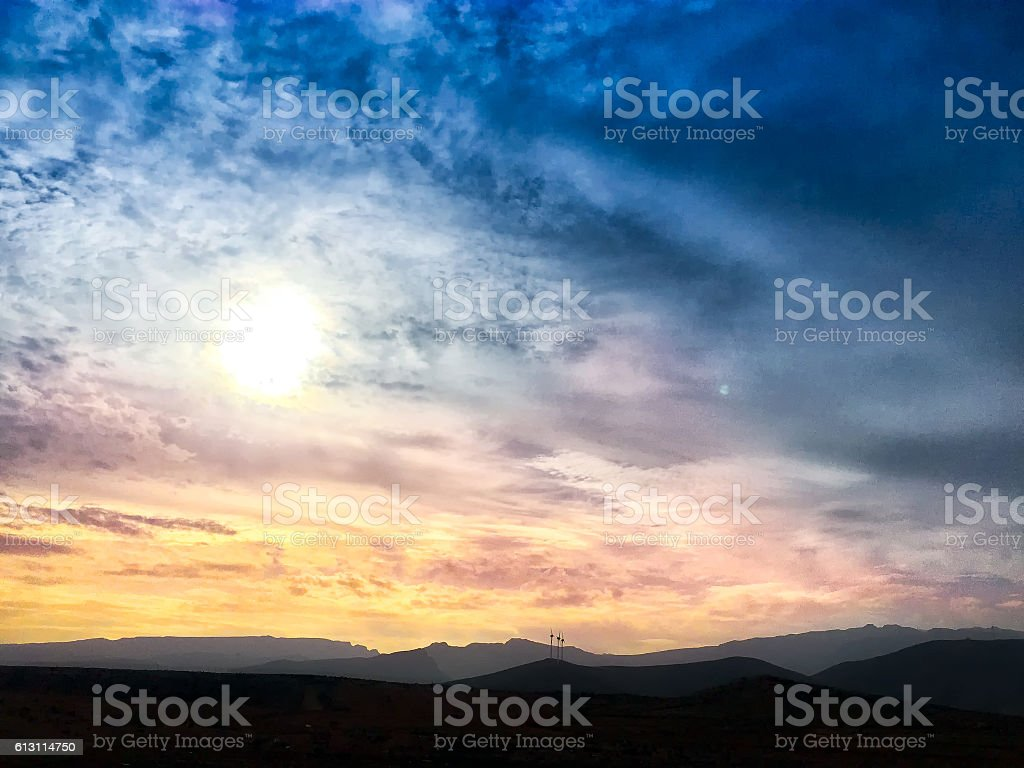 Beautiful sunset in Vecindario (Canary islands) stock photo
