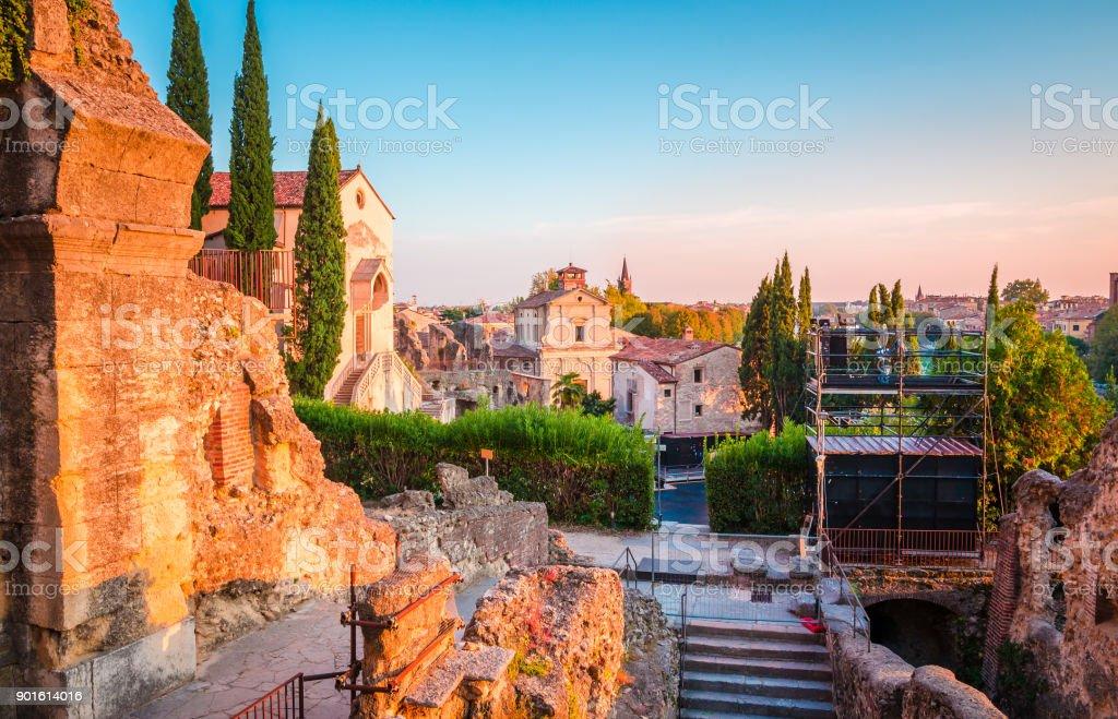 Beautiful sunset in Verona, Veneto region, Italy. stock photo