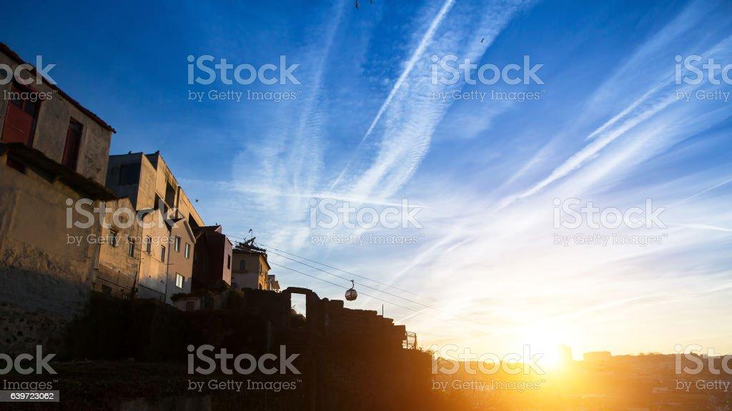 Beautiful sunset in Vila Nova de Gaia, Portugal. stock photo