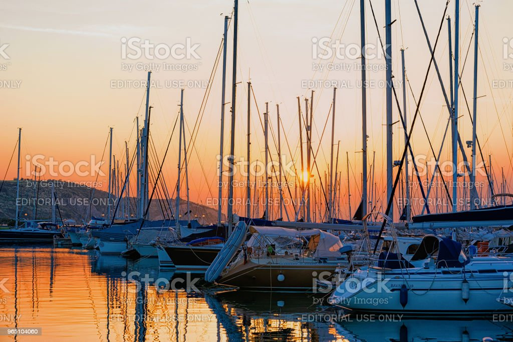 Beautiful sunset marina Izola village Adriatic sea Slovenia royalty-free stock photo