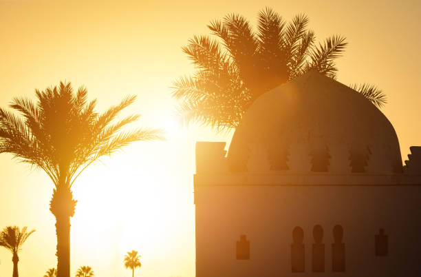 Beautiful sunset moment with Islamic church, palms at background. Silhouette of palm trees with old religious building in Marrakesh town with gold sun rays and lens flare. Wanderlust travel concept. Beautiful sunset moment with Islamic church, palms at background. Silhouette of palm trees with old religious building in Marrakesh town with gold sun rays and lens flare. Wanderlust travel concept. muslim quarter stock pictures, royalty-free photos & images