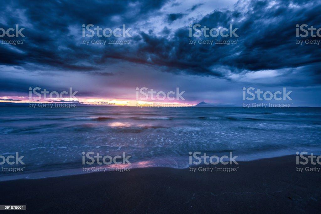 Beautiful sunset near sea stock photo