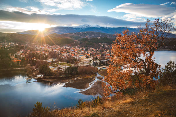 Beautiful sunset near Sofia, Bulgaria - Pancharevo lake and autumn trees Beautiful sunset near Sofia, Bulgaria - Pancharevo lake and autumn trees bulgaria stock pictures, royalty-free photos & images