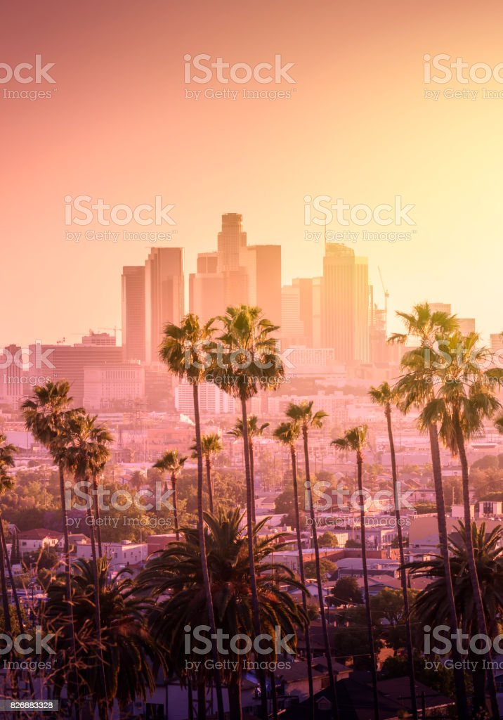 Beautiful sunset of Los Angeles downtown stock photo