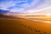 Tranquility scene of empty sand beach with footprints on the sand, lonely birds and colorful cloudy sky.
