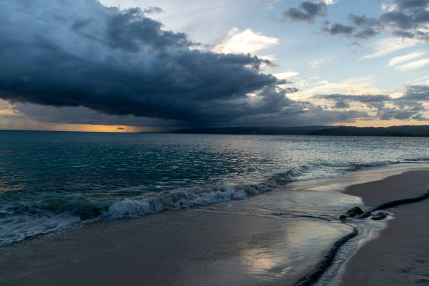 A beautiful sunset on a Caribbean beach stock photo