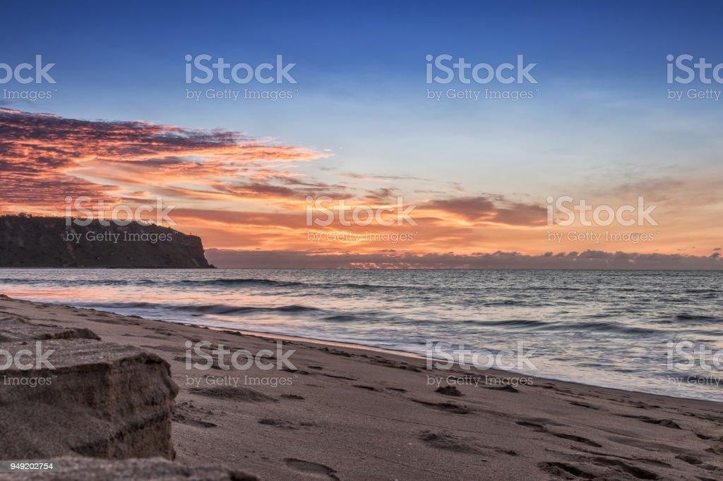 Beautiful Sunset On Cabo Ledo Beach Angola Africa Royalty Free Stock Photo