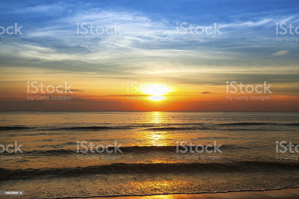Beautiful sunset on coast of Siam Gulf royalty-free stock photo