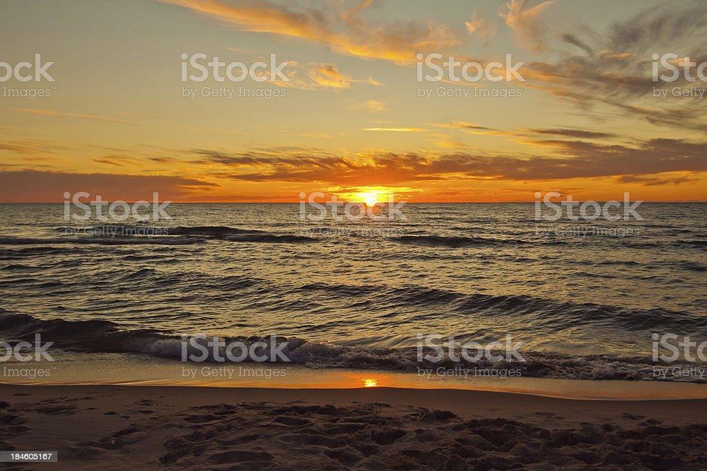 Beautiful sunset on Lake Michigan Summertime royalty-free stock photo