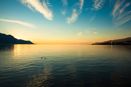 Beautiful sunset on Leman Lake in Montreux  Switzerland