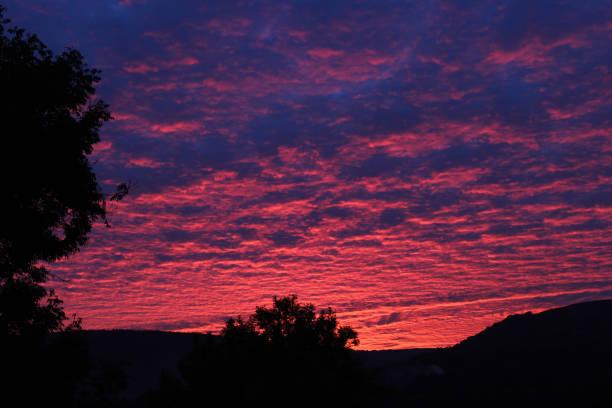 Beautiful sunset on Llanhilleth Mountain in Pontypool, Wales stock photo