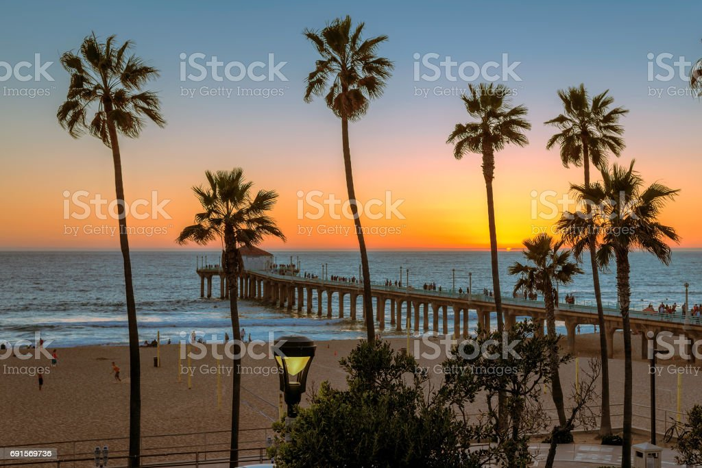 Beautiful Sunset On Manhattan Beach And Pier Los Angeles California Stock Photo Download Image Now Istock