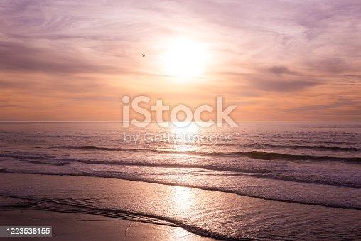 Beautiful Sunset on Ocean Beach, San Francisco, California