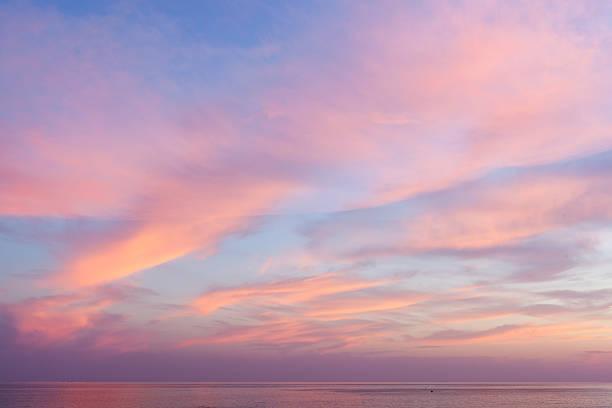 Beautiful sunset on sea stock photo