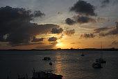 Beautiful sunset on St. Maarten, Caribbean