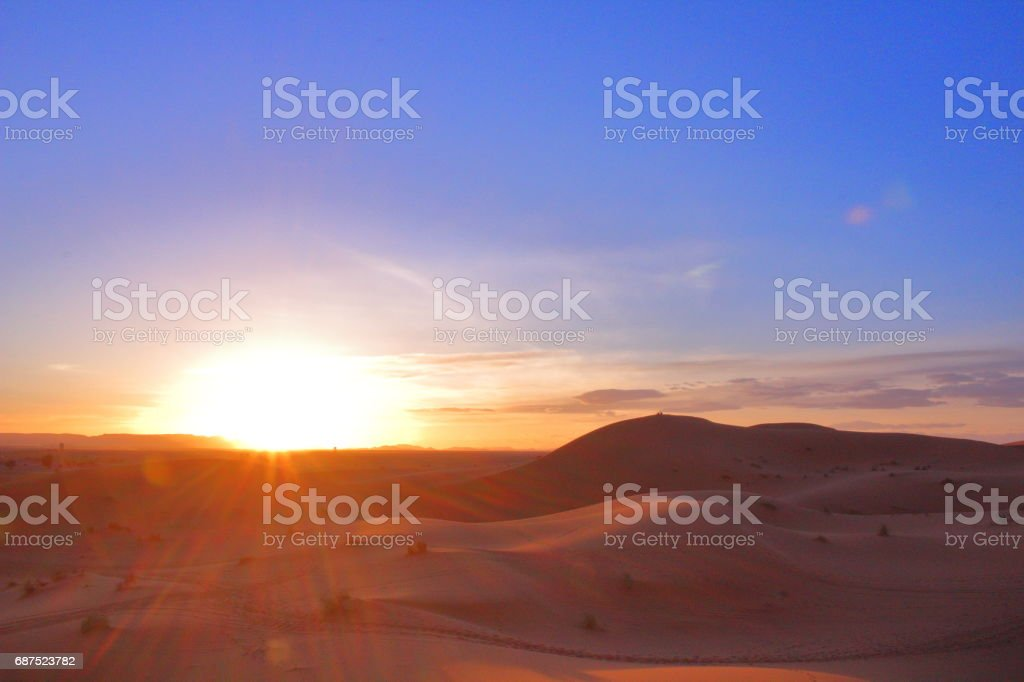 Beautiful sunset on the desert in Morocco
