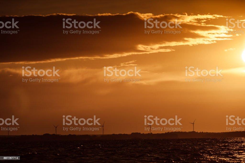 Beautiful sunset on the ocean sea stock photo