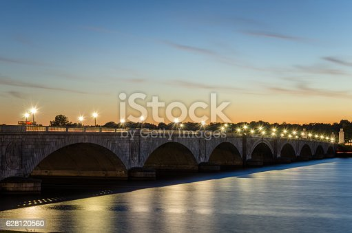 Photo of Arlington Memorial Bridge over the Potomac River in Washington DC at Sunset