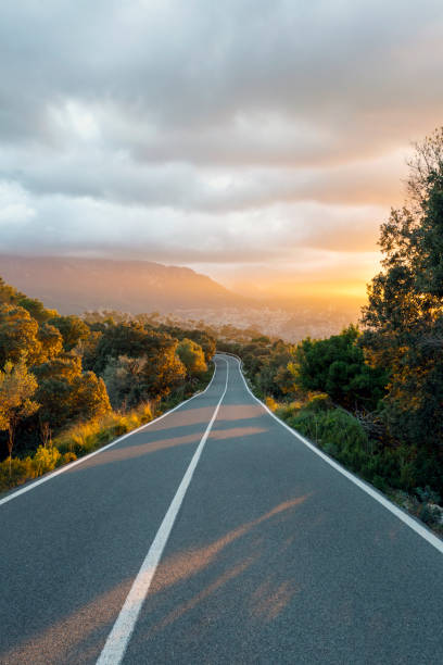Beautiful sunset over a mountain road in Mallorca stock photo
