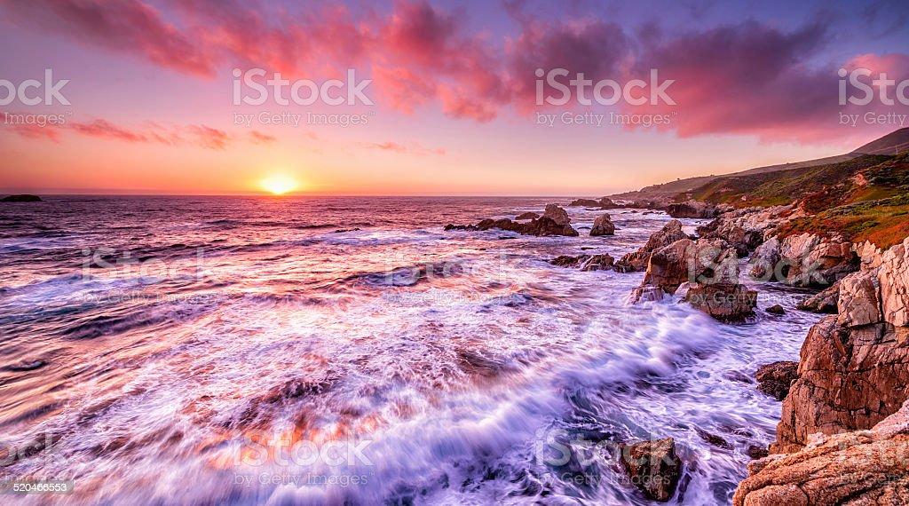 Beautiful sunset over California coast stock photo