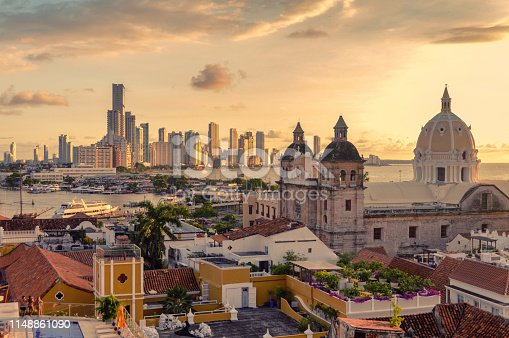 Beautiful sunset over Cartagena, Colombia