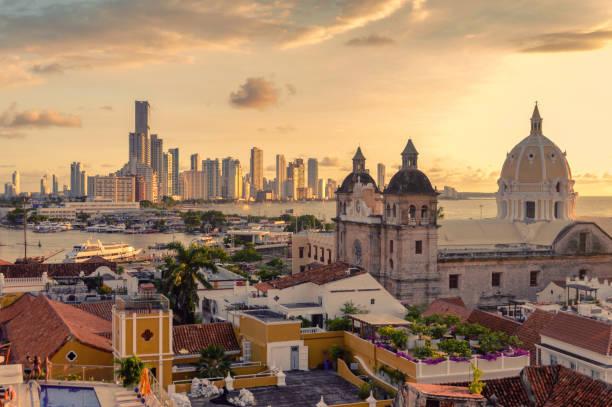 Beautiful sunset over Cartagena, Colombia stock photo
