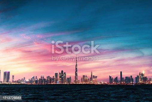 Beautiful sunset over Dubai panorama landmark view from the Dubai creek harbor