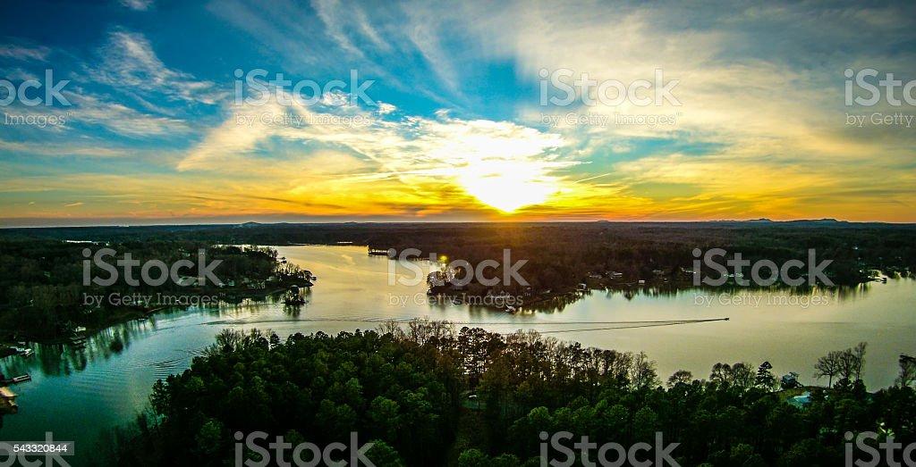 beautiful sunset over lake wylie south carolina stock photo