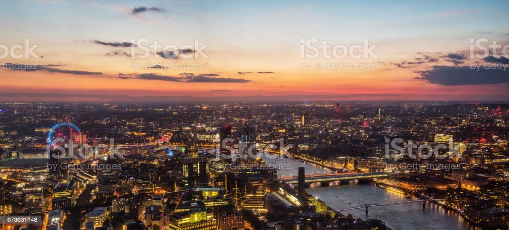 Beautiful sunset over old town of city London, England stock photo