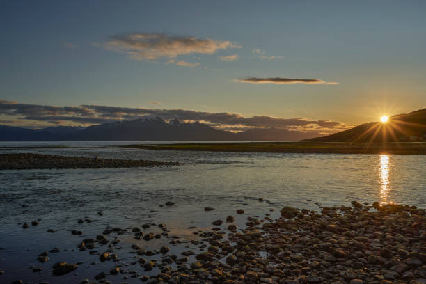 Beautiful Sunset over the Beagle Channel in The Breathtaking Scenery of Ushuaia in the Patagonia Region of Argentina in South America stock photo