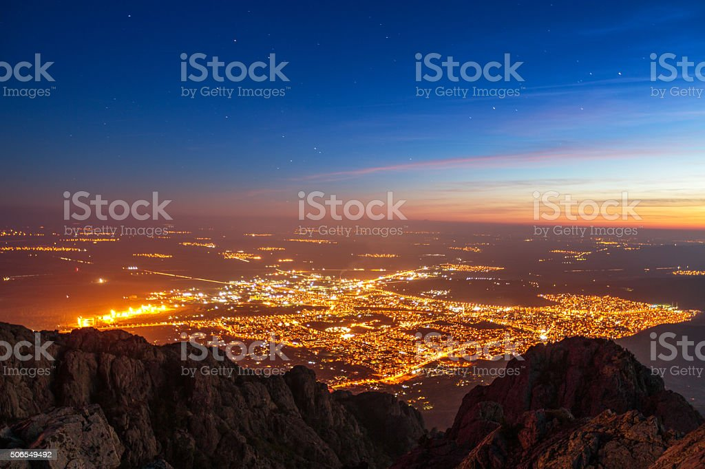 Beautiful sunset over the city, scenic panoramic view stock photo