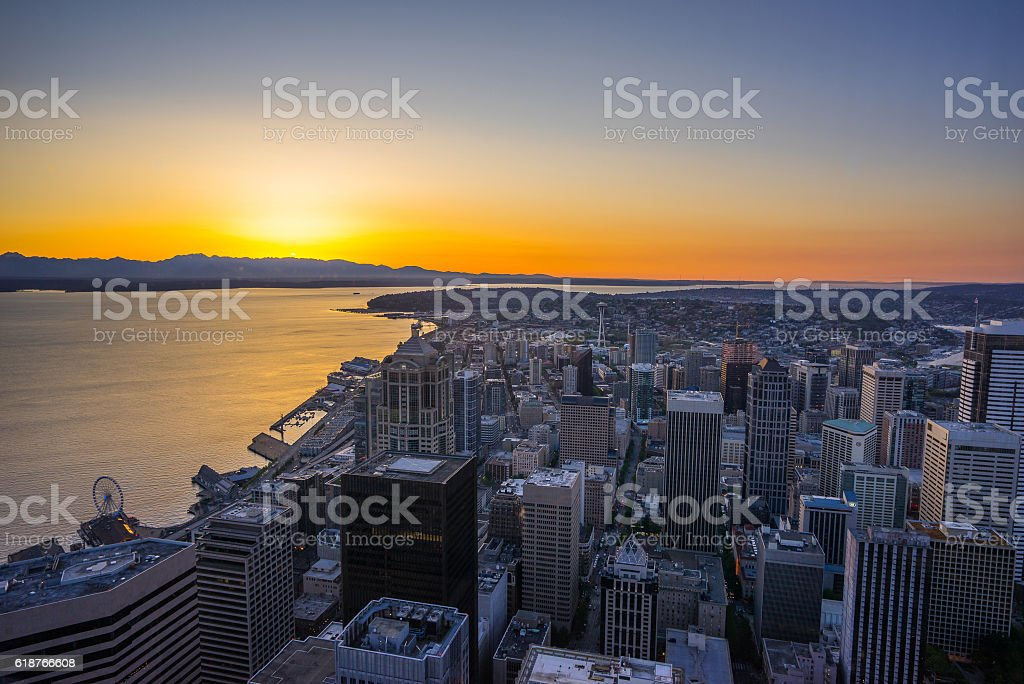 Beautiful sunset over the city. Seattle at night stock photo