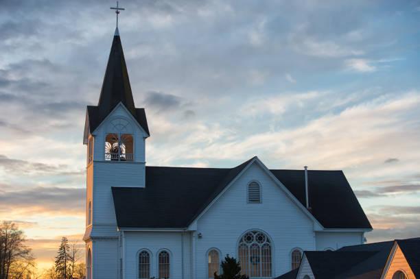 Beautiful Sunset over the Lutheran Church stock photo