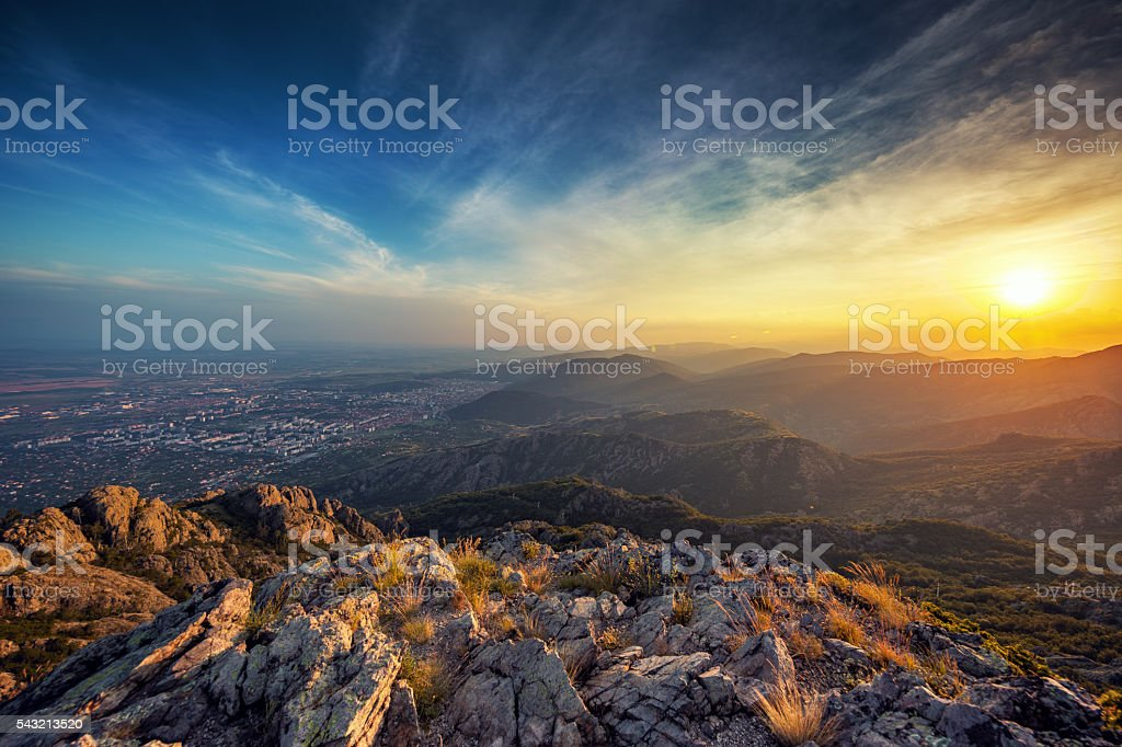 Beautiful sunset over the mountain stock photo