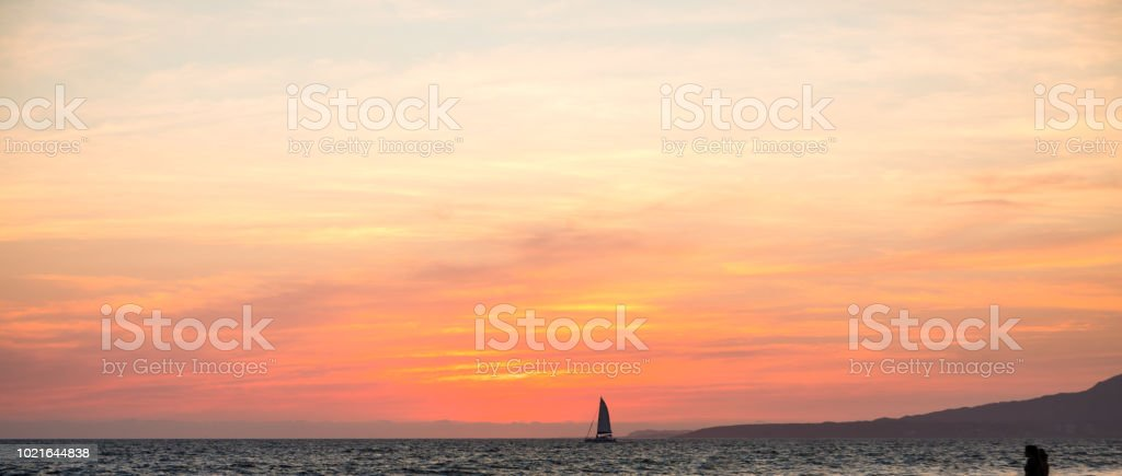 beautiful sunset over the Pacific Ocean stock photo
