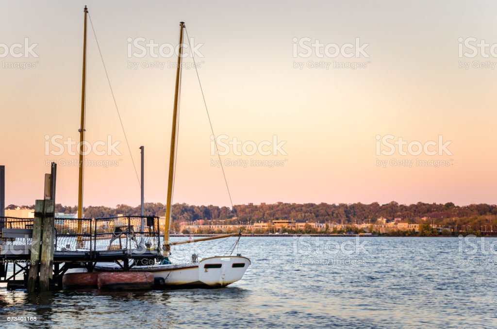 Beautiful Sunset over the Potomac River in Alexandria, VA stock photo
