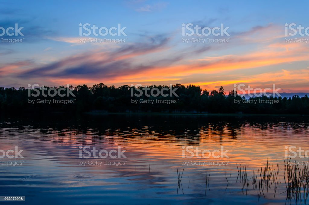 Beautiful sunset over the river Dnieper royalty-free stock photo