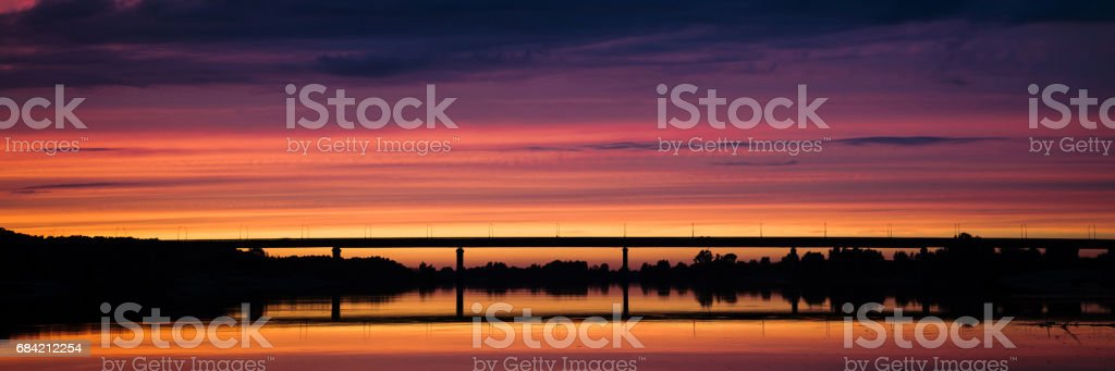 beautiful sunset over the river, royalty-free stock photo